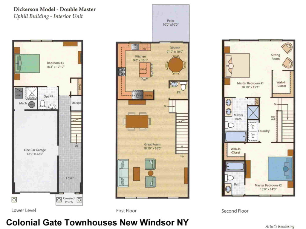 Dickerson Model Floor Plans Colonial Gate New Windsor NY